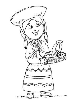 Coloriage petite fille inca 28 coloriage enfants filles - Coloriage personnage fille ...